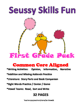 Seussy First Grade Pack: 32 pgs. Write, Compare Texts, Pho