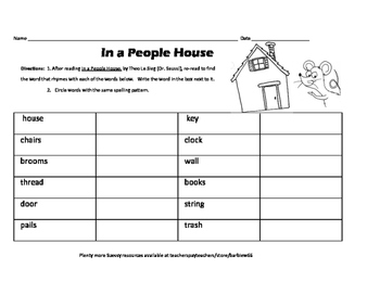 Seussy Rhyming Activities: In a People House and Use with Any Dr. S Book