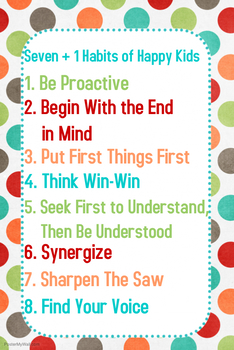 Seven + 1 Habits of Happy Kids Poster