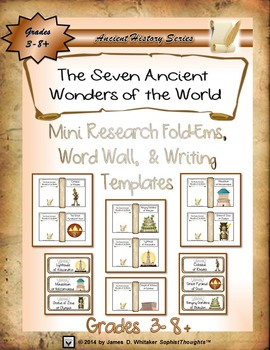 Seven Ancient Wonders of the World Mini Research & Analysis Fold-Ems & Word Wall