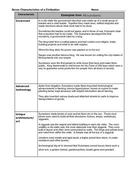 Seven Characteristics of Civilization