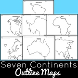 Seven Continents Outline Maps