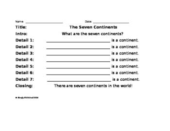 Seven Continents Sentence Frames