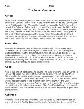 Seven Continents Short Response