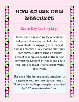 Seven Day Reading Logs || Reading Strategy Practice for ANY Text {EDITABLE!}