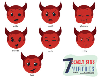 Seven Deadly Sins and Seven Virtues Smileys Clip Art Set