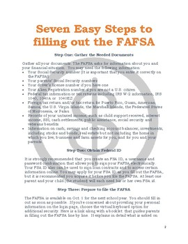 Seven Easy Steps to filling out the FAFSA