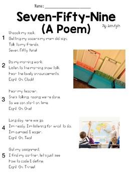 Seven-Fifty-Nine (Poem) Text and Question Set - FSA/PARCC-Style ELA Assessment