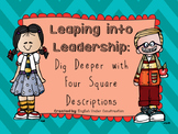 Leaping into Leadership Four Square Descriptions Activity:  Leader Activities