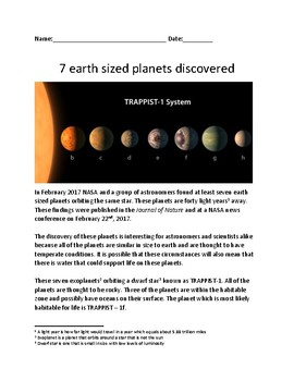 Seven New Planets Discovered - NASA - lesson facts information review