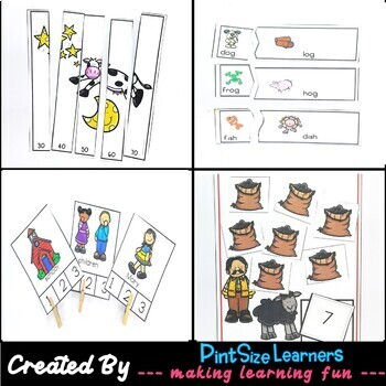 Seven Nursery Rhymes Lesson Plans, Centers, Worksheets