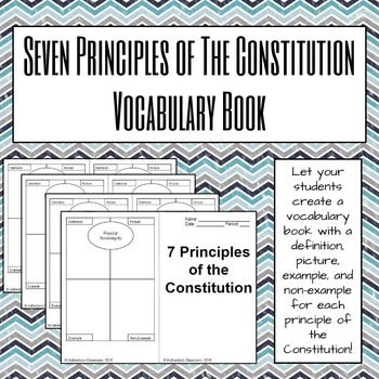 Seven Principles of the Constitution Vocabulary Book