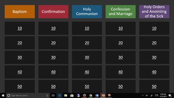 Catholic Distance Learning - The Seven Sacraments - Jeopardy Zoom Game Google!