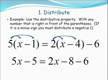 Seven Steps for Solving Linear Equations - PowerPoint Lesson