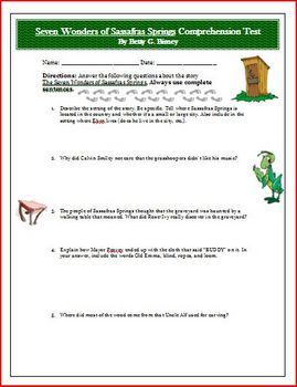Seven Wonders of Sassafras Springs Reading Comprehension Test