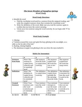 Seven Wonders of Sassafras Springs Spelling Words Activity List