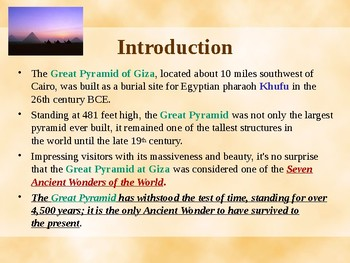 Seven Wonders of the Ancient World - The Great Pyramid of Giza