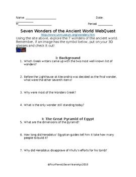Seven Wonders of the Ancient World Webquest w/ 3D Images!