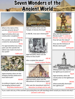 Seven Wonders Of The Ancient World Worksheet Tpt