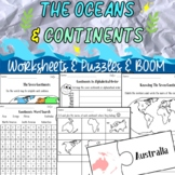 The Oceans and Continents Sheets and BOOM cards for *Distance Learning*