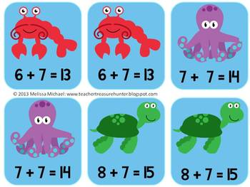 Sevens by the Sea - An addition game for practicing adding 7 - GO FISH