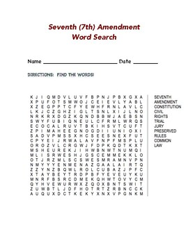 Seventh (7th) Amendment Word Search