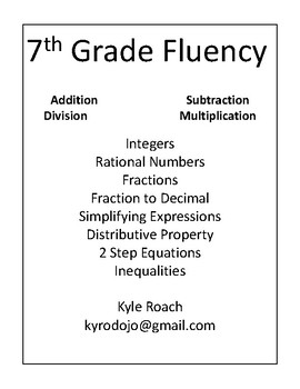 Seventh (7th) Grade Math Fluency Packets 1 and 2