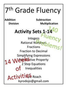 Seventh (7th) Grade Math Fluency Packets 1-14