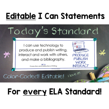 Common Core Standards I Can Statements for 7th Grade ELA - Half Page