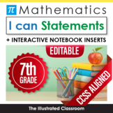 Common Core Standards I Can Statements for 7th Grade Math - Half Page