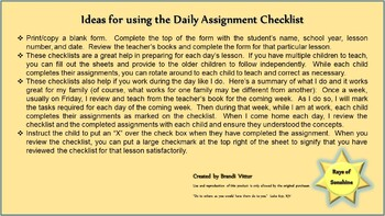 Seventh Grade Daily Assignment Checklist for use with Abeka Curriculum