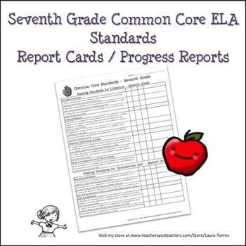 Seventh Grade ELA Common Core Progress Report / Chart