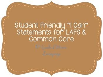 """Seventh Grade """"I Can"""" Statements LAFS & Common Core Langua"""