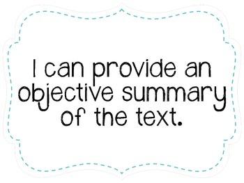 "Seventh Grade ""I Can"" Statements LAFS & Common Core Reading Plain"