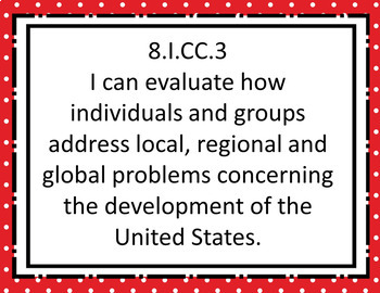 """Eighth Grade """"I Can"""" Statements for KY NEW Revised Social Studies Standards"""
