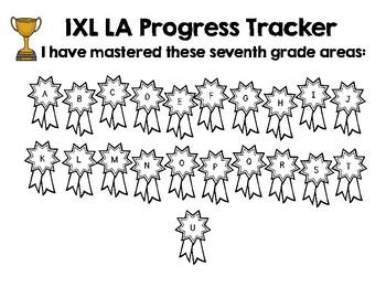 Seventh Grade IXL Language Arts Tracker