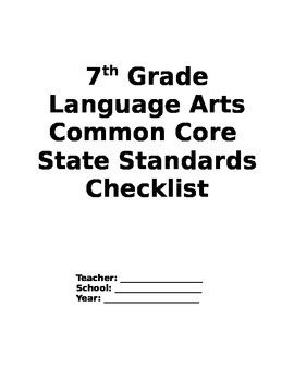 Seventh Grade Language Arts Common Core Checklist