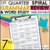 7th Grade Language Spiral Review & Quizzes   Grammar Review   1st QUARTER