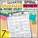 7th Grade Language Homework or Spiral Review Warm Ups & Bell Ringers 2nd Quarter