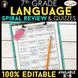 7th Grade Language Spiral Review | Grammar Homework or Warm Ups ENTIRE YEAR