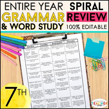 7th Grade Language Spiral Review | Grammar Homework or Warm Ups ENTIRE YEAR