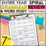 7th Grade Language Spiral Review & Quizzes | Grammar Practice Homework