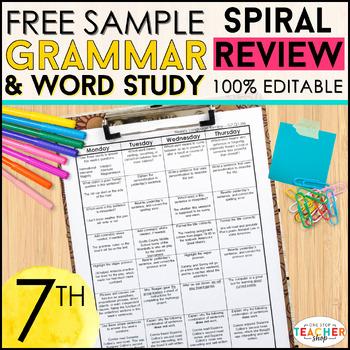 7th Grade Language Homework 7th Grade Daily Language Spiral Review FREE