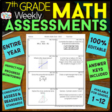 7th Grade Math Assessments 7th Grade Math Quizzes {Spiral Review} EDITABLE