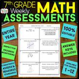 7th Grade Math Assessments   7th Grade Math Quizzes EDITABLE