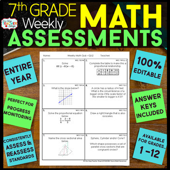 7th Grade Math Assessments | Weekly Spiral Assessments for ENTIRE YEAR