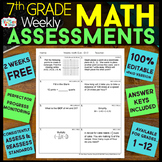 7th Grade Math Assessments | 2 Weeks FREE
