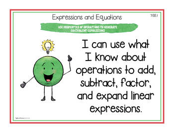 """Seventh Grade Math Common Core Standards """"I Can"""" Posters"""