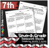Seventh Grade Math Homework Printable & Digital Learning