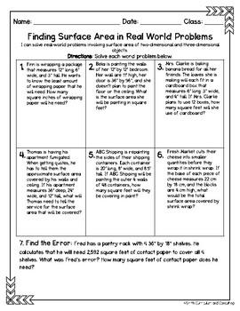 Seventh Grade Math Homework Sheets- Geometry